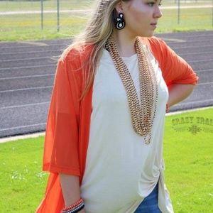 Crazy Train Orange Short Kimono Cardigan Kickoff